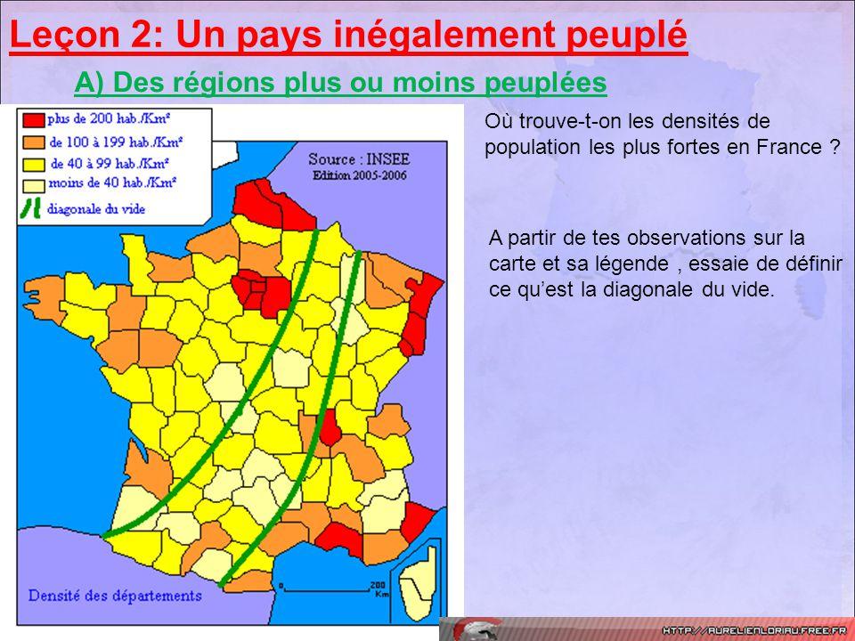 Leçon 2: Un pays inégalement peuplé A) Des régions plus ou moins peuplées Où trouve-t-on les densités de population les plus fortes en France ? A part