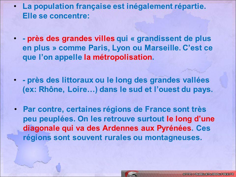 Par contre, certaines régions de France sont très peu peuplées. On les retrouve surtout le long dune diagonale qui va des Ardennes aux Pyrénées. Ces r