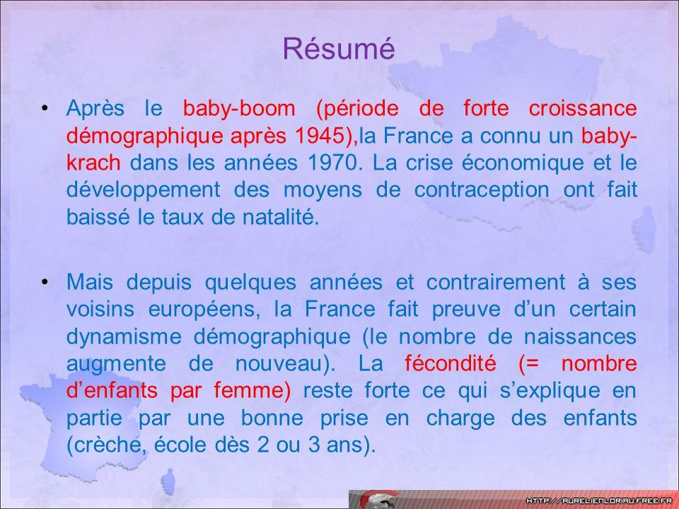 Après le baby-boom (période de forte croissance démographique après 1945),la France a connu un baby- krach dans les années 1970. La crise économique e