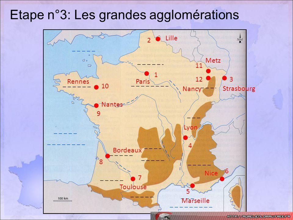 Etape n°3: Les grandes agglomérations 12 11 10 9 8 7 6 5 4 3 2 1 Nice Marseille Lyon Strasbourg Metz Nancy Lille ParisRennes Nantes Toulouse Bordeaux