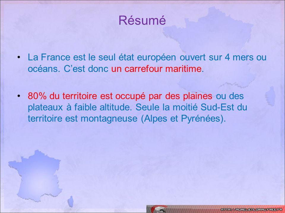 Résumé La France est le seul état européen ouvert sur 4 mers ou océans. Cest donc un carrefour maritime. 80% du territoire est occupé par des plaines