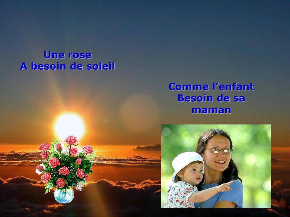 .. Une rose A besoin de soleil Comme lenfant Besoin de sa maman