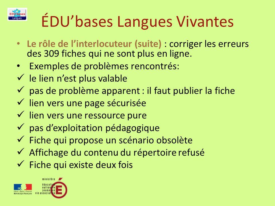 ÉDUbases Langues Vivantes Le rôle de linterlocuteur (suite) : corriger les erreurs des 309 fiches qui ne sont plus en ligne.
