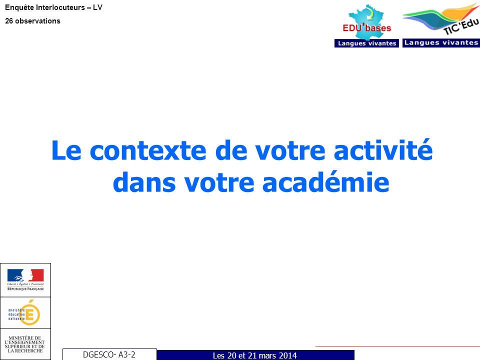 DGESCO- A3-2 Enquête Interlocuteurs – LV 26 observations Les 20 et 21 mars 2014 Le contexte de votre activité dans votre académie