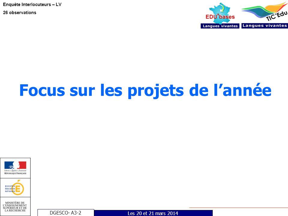 DGESCO- A3-2 Enquête Interlocuteurs – LV 26 observations Les 20 et 21 mars 2014 Focus sur les projets de lannée