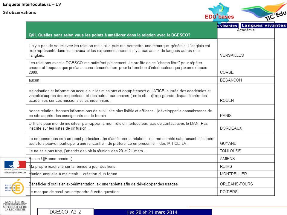 DGESCO- A3-2 Enquête Interlocuteurs – LV 26 observations Les 20 et 21 mars 2014 Q41. Quelles sont selon vous les points à améliorer dans la relation a
