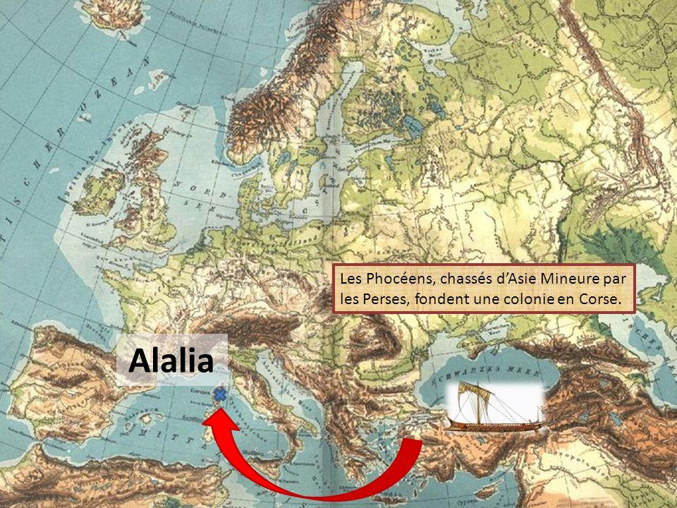 565 avant J.-C. Naissance DALALIA FUTURE ALERIA LA CORSE ENTRE EN CONTACT AVEC LES AUTRES CIVILISATIONS MÉDITERRANÉENNES.