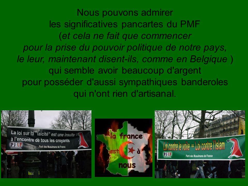 Nous pouvons admirer les significatives pancartes du PMF (et cela ne fait que commencer pour la prise du pouvoir politique de notre pays, le leur, maintenant disent-ils, comme en Belgique ) qui semble avoir beaucoup d argent pour posséder d aussi sympathiques banderoles qui n ont rien d artisanal.