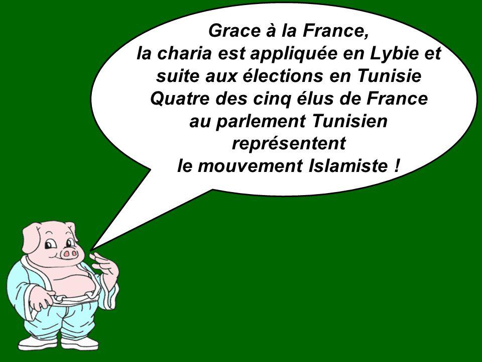Grace à la France, la charia est appliquée en Lybie et suite aux élections en Tunisie Quatre des cinq élus de France au parlement Tunisien représentent le mouvement Islamiste !