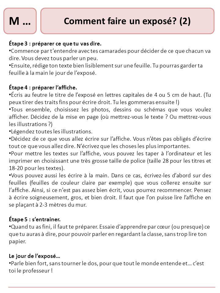 Comment faire un exposé? (2) Étape 3 : préparer ce que tu vas dire. Commence par tentendre avec tes camarades pour décider de ce que chacun va dire. V