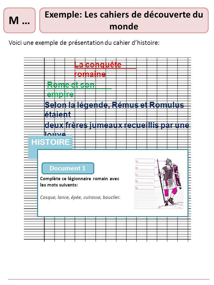 Exemple: Les cahiers de découverte du monde Voici une exemple de présentation du cahier dhistoire: M … La conquête romaine Rome et son empire Selon la