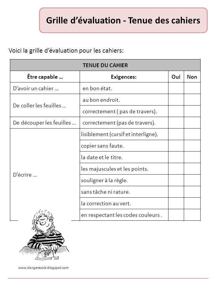 Grille dévaluation - Tenue des cahiers Voici la grille dévaluation pour les cahiers: TENUE DU CAHIER Être capable …Exigences:OuiNon Davoir un cahier …en bon état.