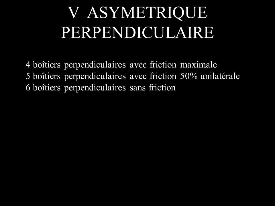4 boîtiers perpendiculaires avec friction maximale 5 boîtiers perpendiculaires avec friction 50% unilatérale 6 boîtiers perpendiculaires sans friction V ASYMETRIQUE PERPENDICULAIRE