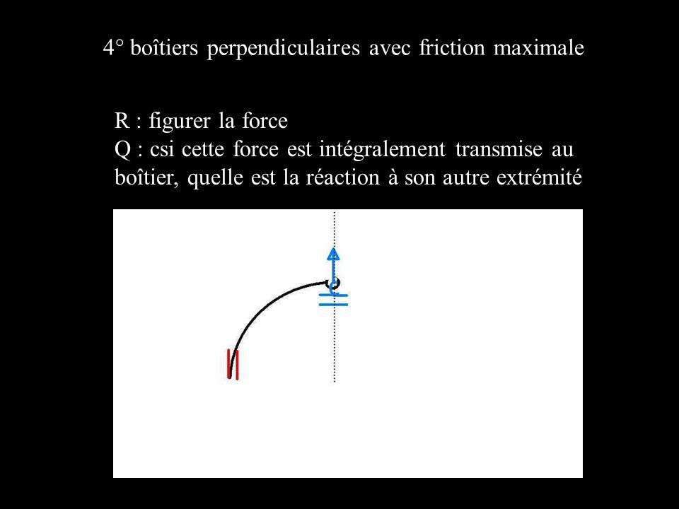 4° boîtiers perpendiculaires avec friction maximale R : figurer la force Q : csi cette force est intégralement transmise au boîtier, quelle est la réaction à son autre extrémité
