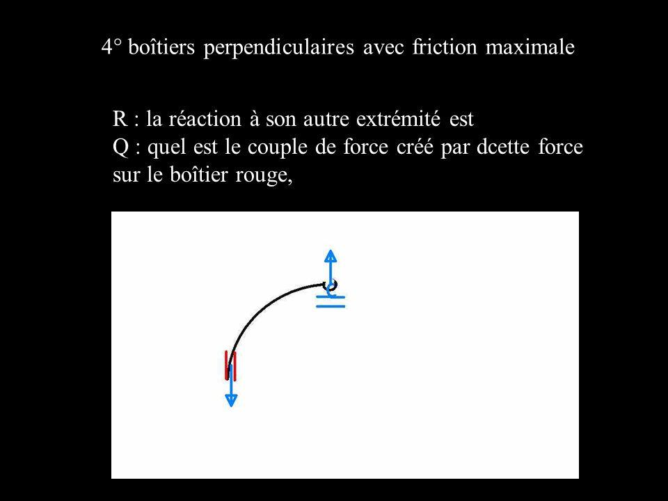 4° boîtiers perpendiculaires avec friction maximale R : la réaction à son autre extrémité est Q : quel est le couple de force créé par dcette force sur le boîtier rouge,