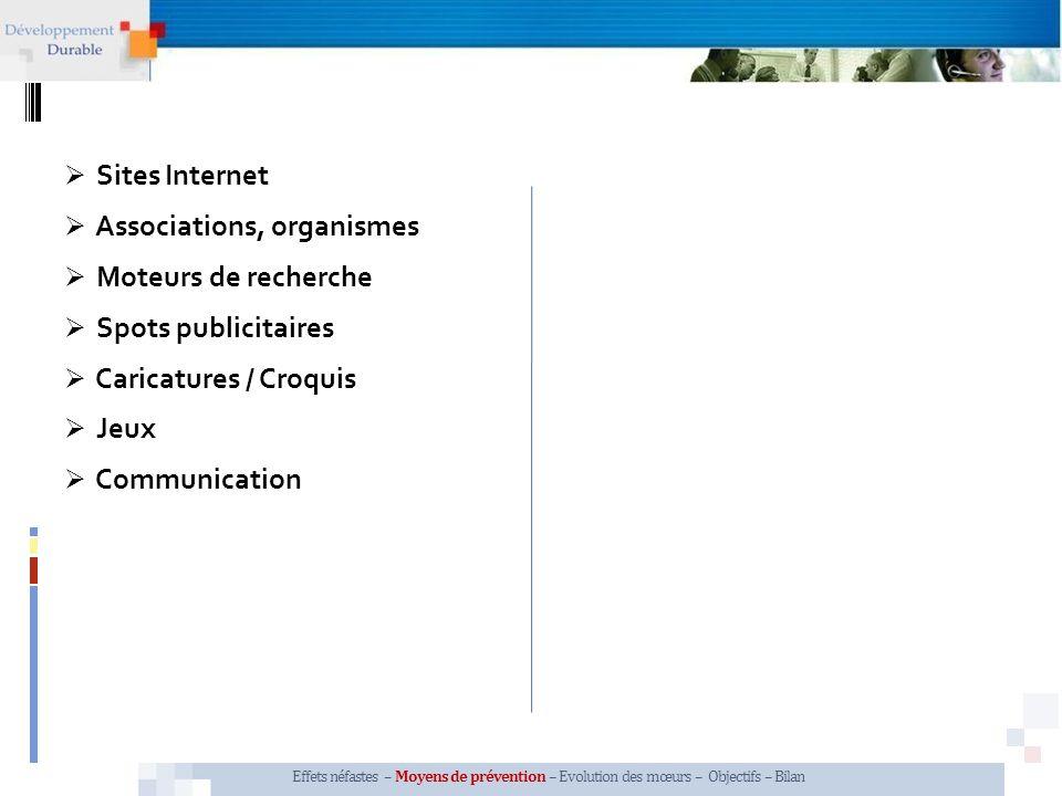 Sites Internet Effets néfastes – Moyens de prévention – Evolution des mœurs – Objectifs – Bilan