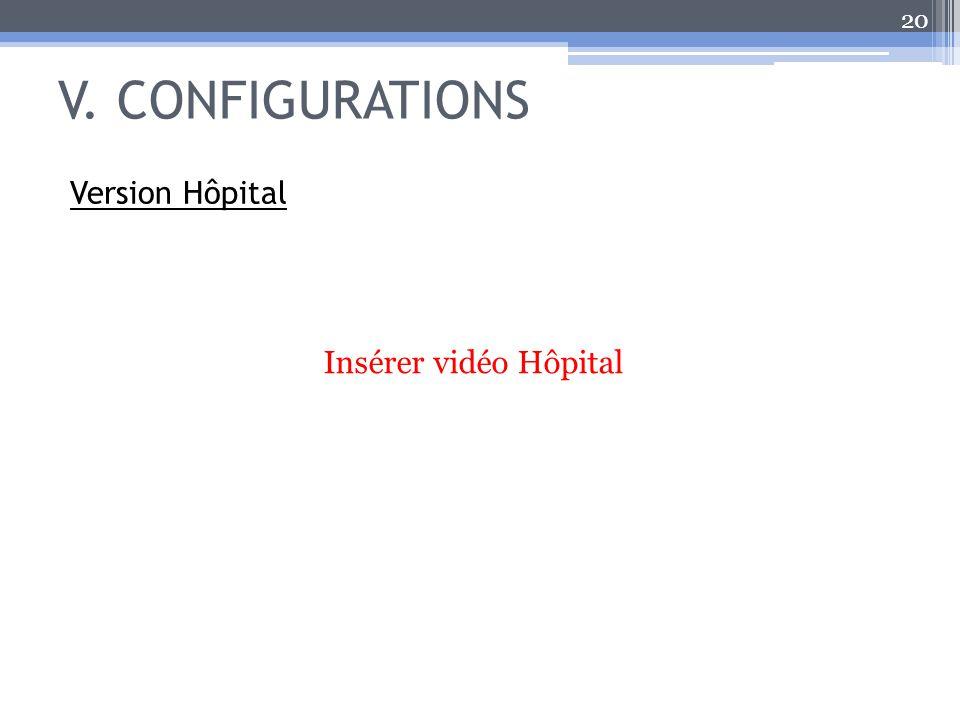 V. CONFIGURATIONS 20 Version Hôpital Insérer vidéo Hôpital