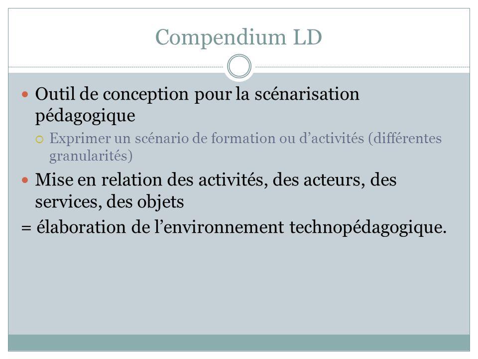 Compendium LD Outil de conception pour la scénarisation pédagogique Exprimer un scénario de formation ou dactivités (différentes granularités) Mise en