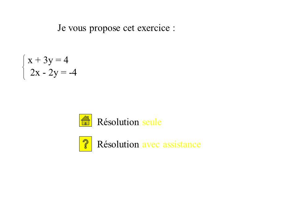 Je vous propose cet exercice : x + 3y = 4 2x - 2y = -4 Résolution seule Résolution avec assistance