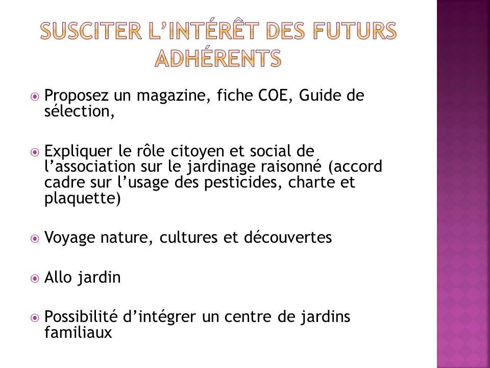 Proposez un magazine, fiche COE, Guide de sélection, Expliquer le rôle citoyen et social de lassociation sur le jardinage raisonné (accord cadre sur l