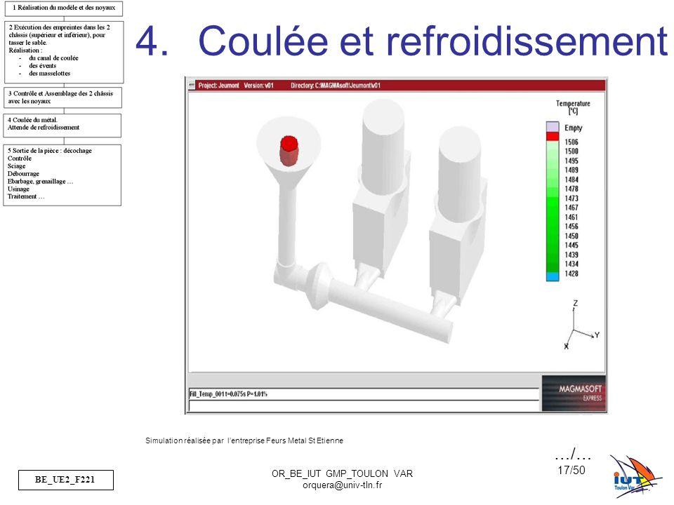 BE_UE2_F221 OR_BE_IUT GMP_TOULON VAR orquera@univ-tln.fr 17/50 4.Coulée et refroidissement Simulation réalisée par lentreprise Feurs Metal St Etienne