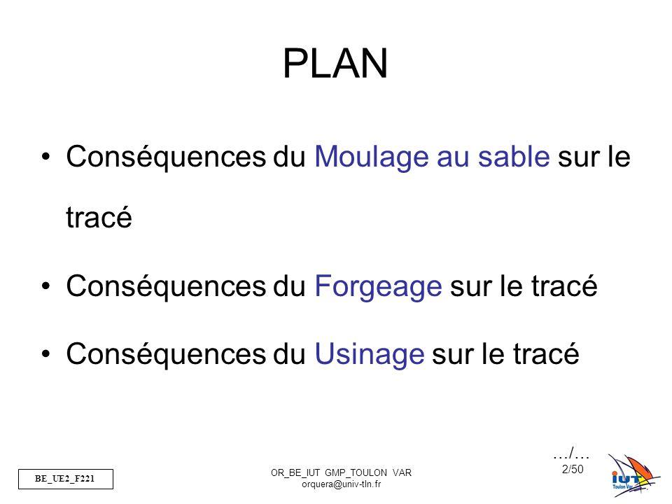 BE_UE2_F221 OR_BE_IUT GMP_TOULON VAR orquera@univ-tln.fr 2/50 PLAN Conséquences du Moulage au sable sur le tracé Conséquences du Forgeage sur le tracé