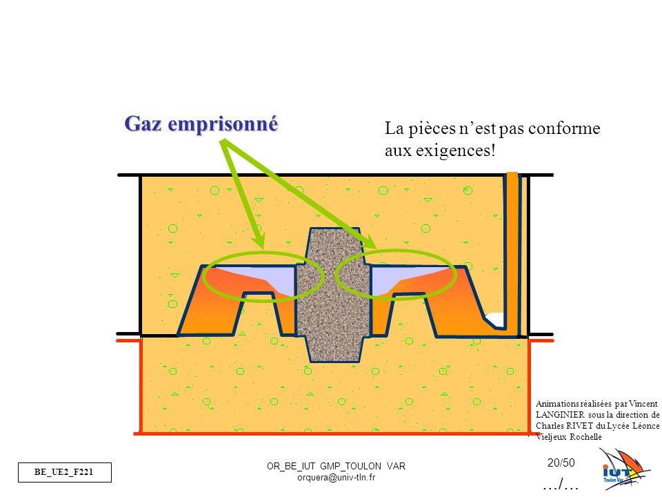BE_UE2_F221 OR_BE_IUT GMP_TOULON VAR orquera@univ-tln.fr 20/50 Gaz emprisonné La pièces nest pas conforme aux exigences! Animations réalisées par Vinc