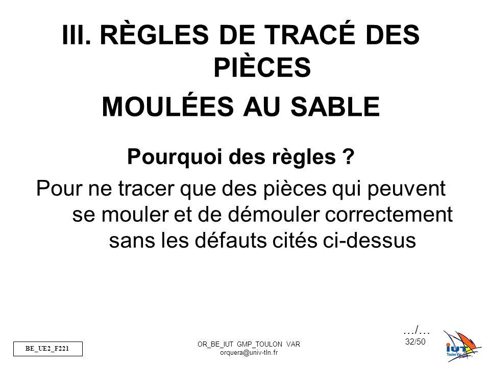 BE_UE2_F221 OR_BE_IUT GMP_TOULON VAR orquera@univ-tln.fr 32/50 III. RÈGLES DE TRACÉ DES PIÈCES MOULÉES AU SABLE Pourquoi des règles ? Pour ne tracer q