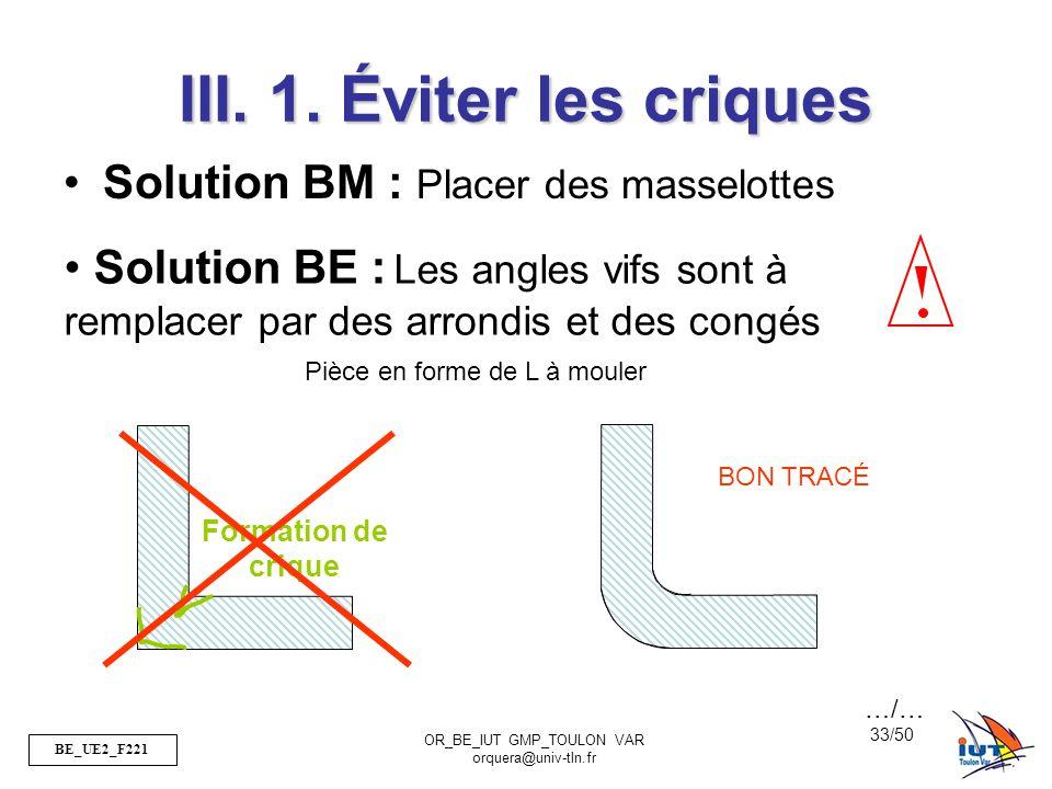 BE_UE2_F221 OR_BE_IUT GMP_TOULON VAR orquera@univ-tln.fr 33/50 Formation de crique III. 1. Éviter les criques Solution BM : Placer des masselottes Piè