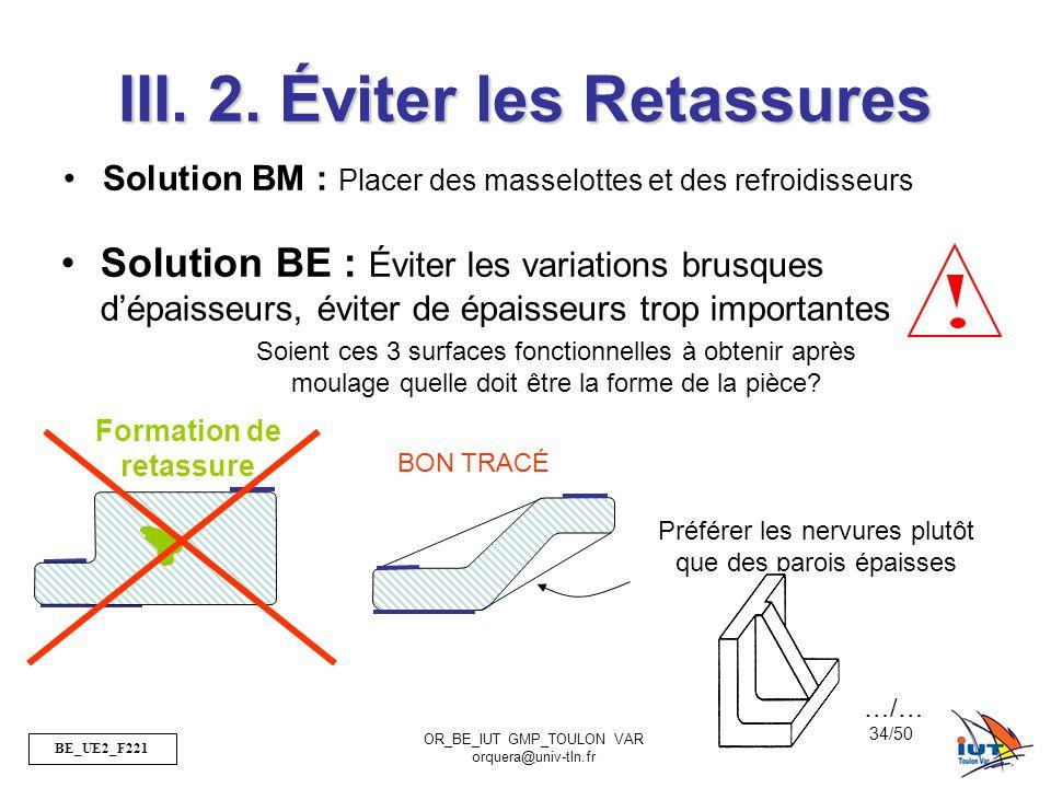 BE_UE2_F221 OR_BE_IUT GMP_TOULON VAR orquera@univ-tln.fr 34/50 III. 2. Éviter les Retassures Solution BM : Placer des masselottes et des refroidisseur