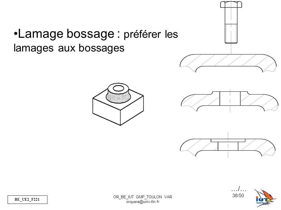 BE_UE2_F221 OR_BE_IUT GMP_TOULON VAR orquera@univ-tln.fr 38/50 Lamage bossage : préférer les lamages aux bossages …/…