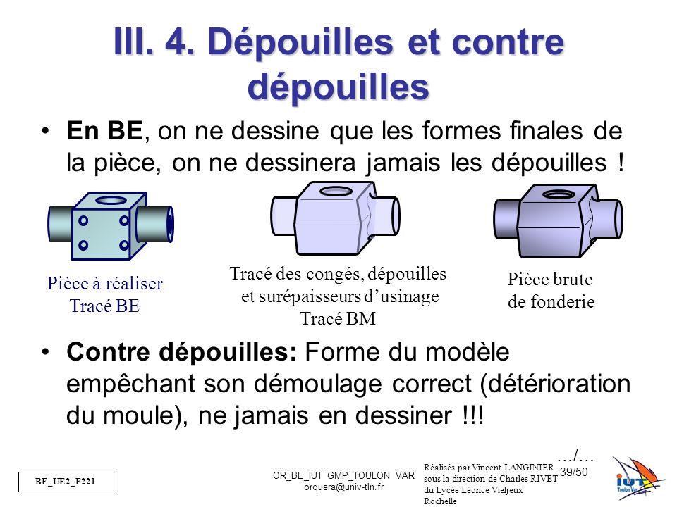 BE_UE2_F221 OR_BE_IUT GMP_TOULON VAR orquera@univ-tln.fr 39/50 III. 4. Dépouilles et contre dépouilles En BE, on ne dessine que les formes finales de