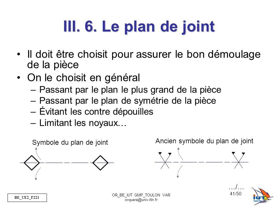BE_UE2_F221 OR_BE_IUT GMP_TOULON VAR orquera@univ-tln.fr 41/50 III. 6. Le plan de joint Il doit être choisit pour assurer le bon démoulage de la pièce