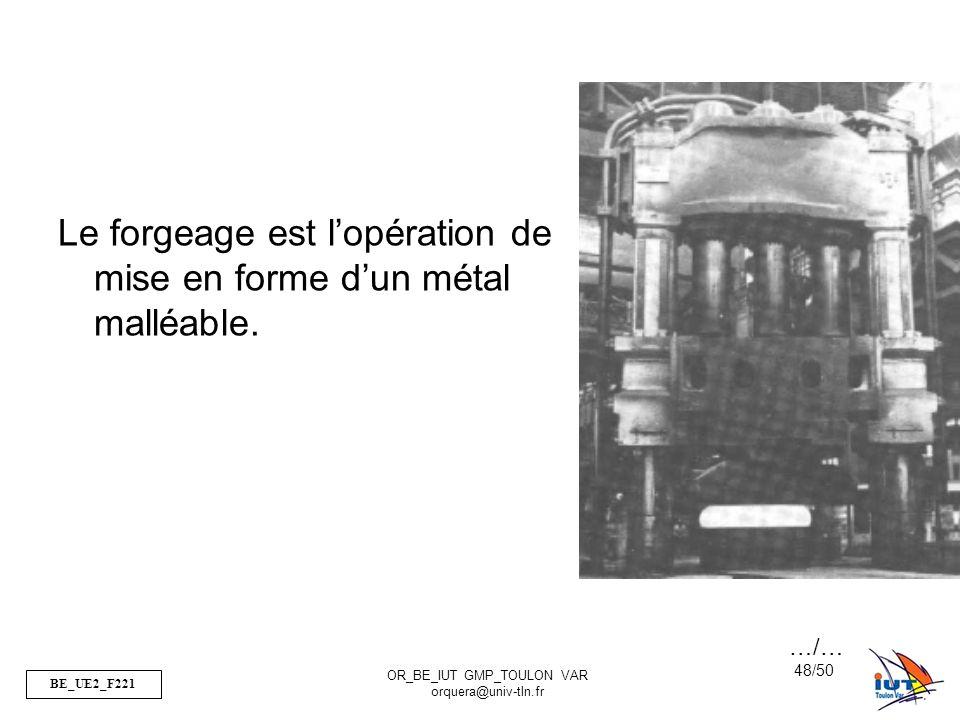 BE_UE2_F221 OR_BE_IUT GMP_TOULON VAR orquera@univ-tln.fr 48/50 Le forgeage est lopération de mise en forme dun métal malléable. …/…