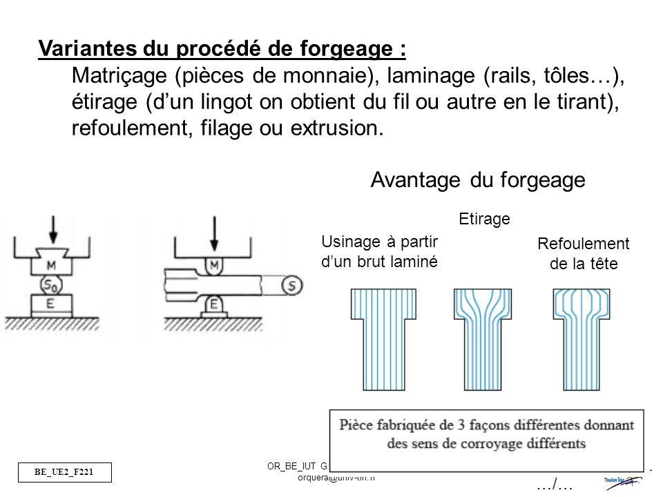 BE_UE2_F221 OR_BE_IUT GMP_TOULON VAR orquera@univ-tln.fr 50/50 Variantes du procédé de forgeage : Matriçage (pièces de monnaie), laminage (rails, tôle