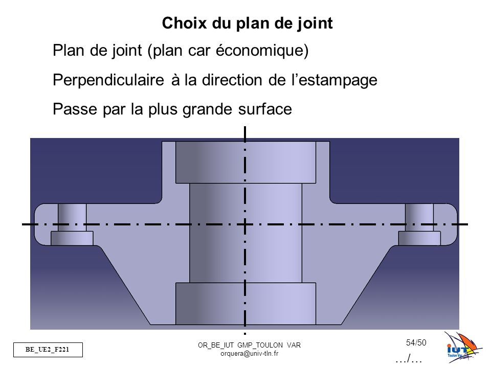 BE_UE2_F221 OR_BE_IUT GMP_TOULON VAR orquera@univ-tln.fr 54/50 Choix du plan de joint Plan de joint (plan car économique) Perpendiculaire à la directi