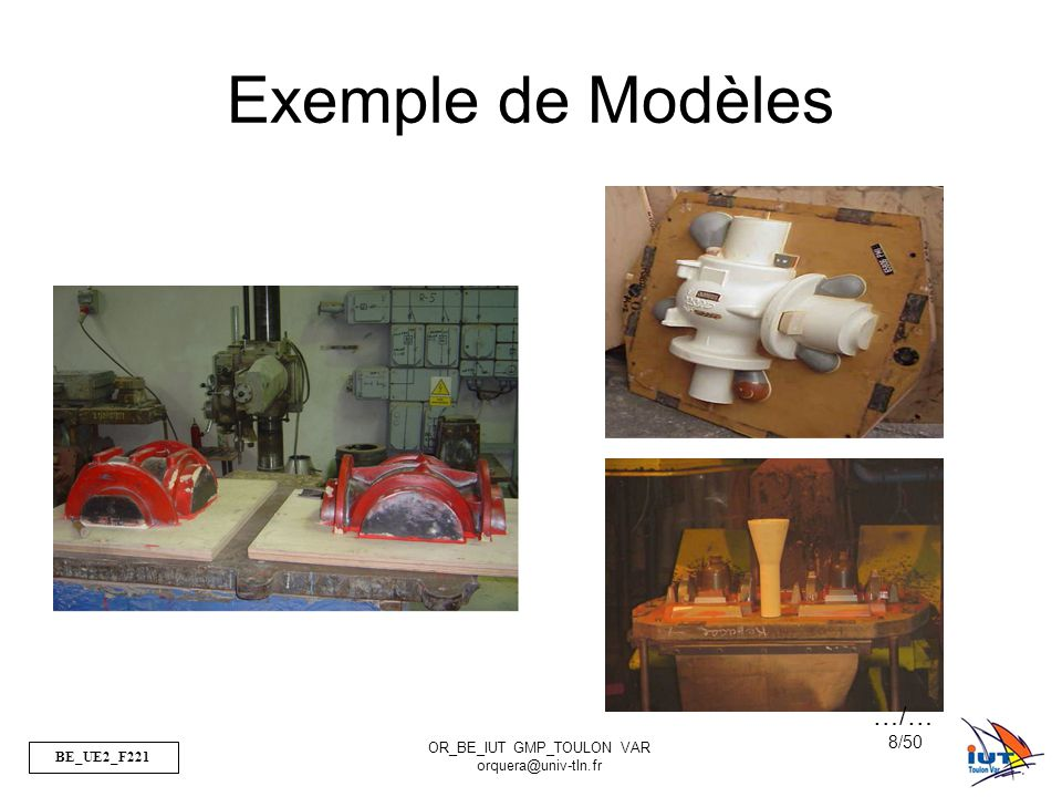 BE_UE2_F221 OR_BE_IUT GMP_TOULON VAR orquera@univ-tln.fr 8/50 Exemple de Modèles …/…