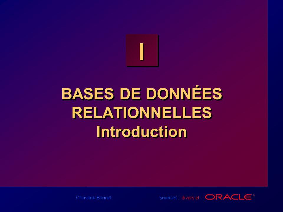 I-22 Christine Bonnet sources : divers et ORDRES SQL SELECT INSERTUPDATEDELETECREATEALTERDROPRENAMETRUNCATECOMMITROLLBACKSAVEPOINTGRANTREVOKESELECT INSERTUPDATEDELETECREATEALTERDROPRENAMETRUNCATECOMMITROLLBACKSAVEPOINTGRANTREVOKE Recherche de données Recherche de données Langage de manipulation de données (DML) Langage de définition de Données (DDL) Contrôle des transactions Langage de contrôle des données (DCL)