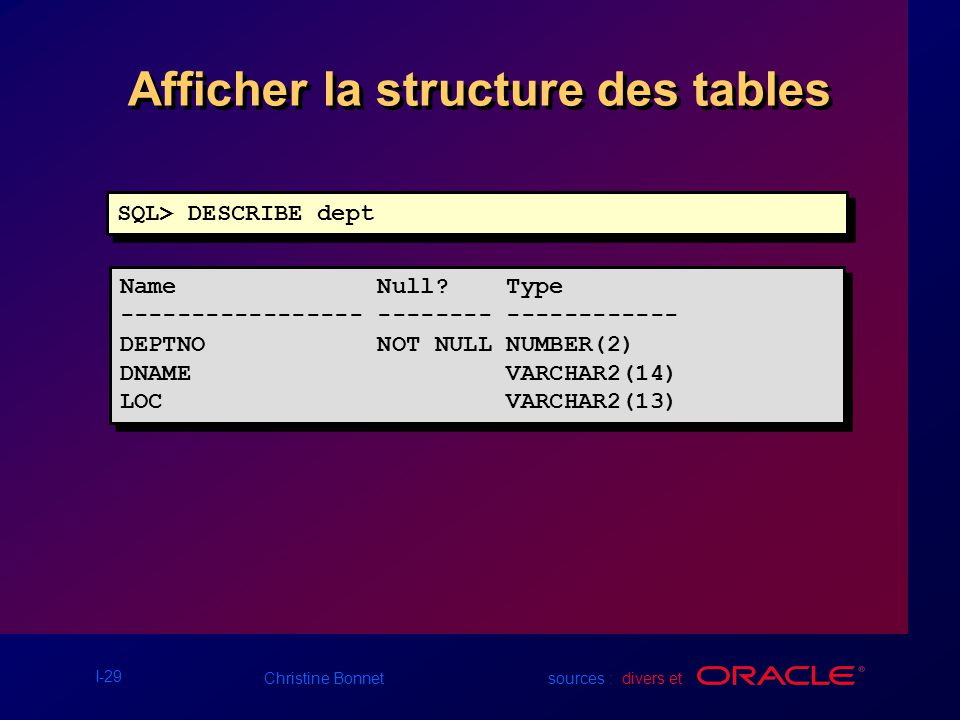 I-29 Christine Bonnet sources : divers et Afficher la structure des tables SQL> DESCRIBE dept Name Null? Type ----------------- -------- ------------