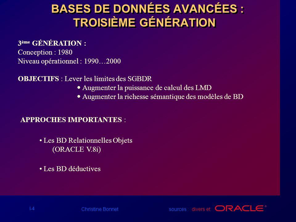 I-5 Christine Bonnet sources : divers et Concept de Base de Données Relationnelles Dr.