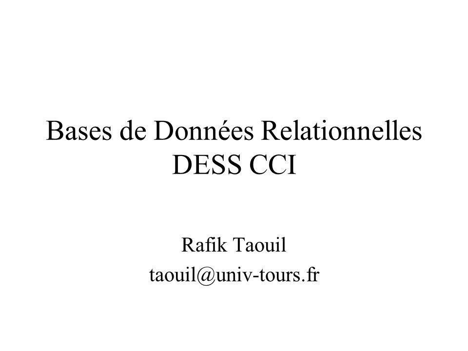Bases de Données Relationnelles DESS CCI Rafik Taouil taouil@univ-tours.fr