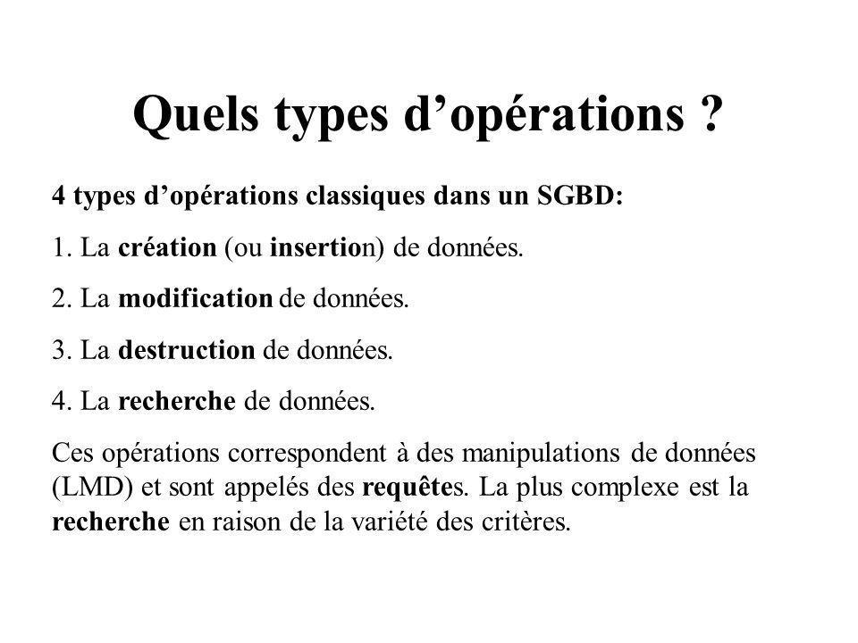 Quels types dopérations .4 types dopérations classiques dans un SGBD: 1.