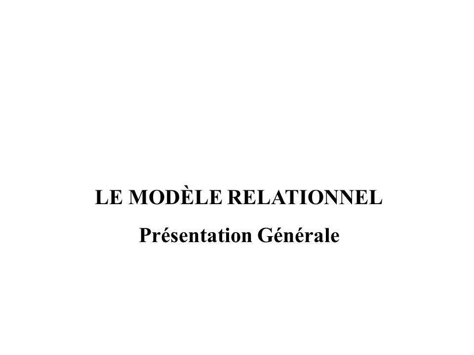 LE MODÈLE RELATIONNEL Présentation Générale