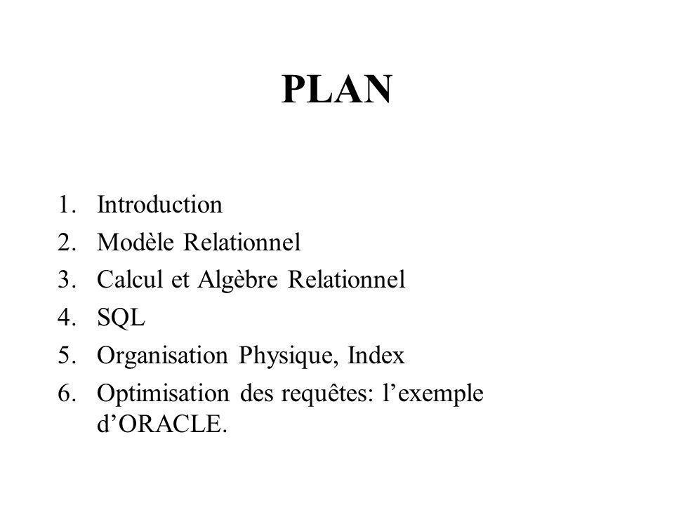 PLAN 1.Introduction 2.Modèle Relationnel 3.Calcul et Algèbre Relationnel 4.SQL 5.Organisation Physique, Index 6.Optimisation des requêtes: lexemple dORACLE.
