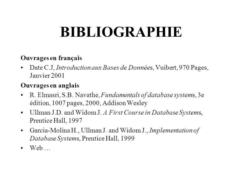 BIBLIOGRAPHIE Ouvrages en français Date C.J, Introduction aux Bases de Données, Vuibert, 970 Pages, Janvier 2001 Ouvrages en anglais R.