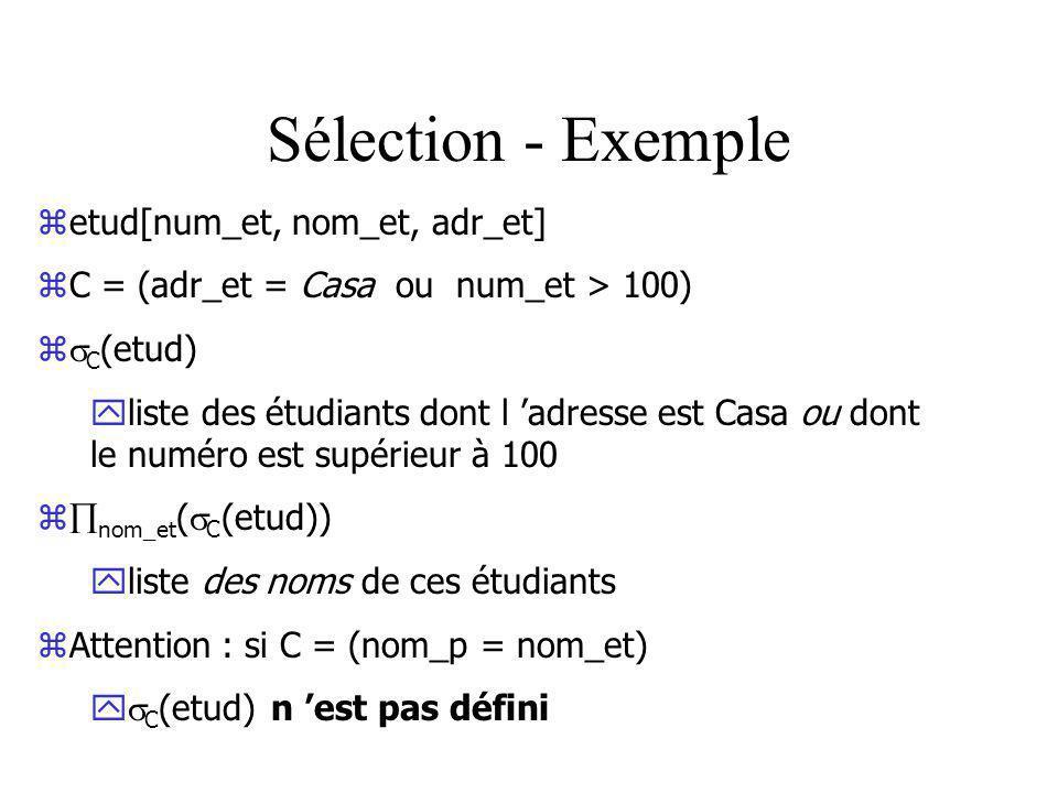 Sélection - Exemple zetud[num_et, nom_et, adr_et] zC = (adr_et = Casa ou num_et > 100) z C (etud) yliste des étudiants dont l adresse est Casa ou dont le numéro est supérieur à 100 z nom_et ( C (etud)) yliste des noms de ces étudiants zAttention : si C = (nom_p = nom_et) y C (etud) n est pas défini