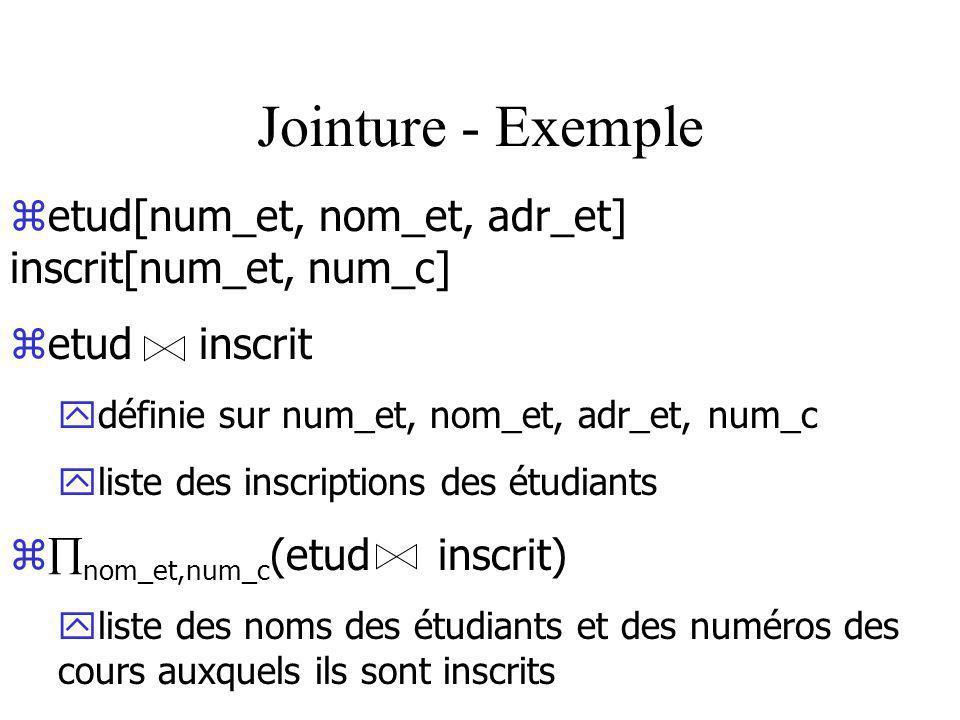 Jointure - Exemple zetud[num_et, nom_et, adr_et] inscrit[num_et, num_c] zetud inscrit ydéfinie sur num_et, nom_et, adr_et, num_c yliste des inscriptions des étudiants z nom_et,num_c (etud inscrit) yliste des noms des étudiants et des numéros des cours auxquels ils sont inscrits