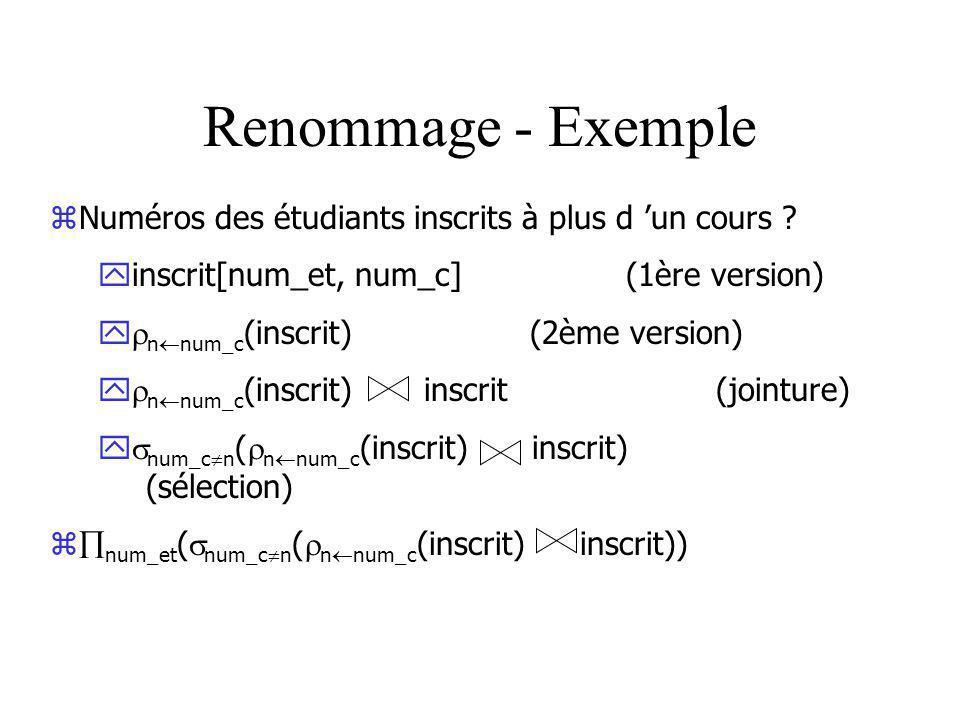 Renommage - Exemple zNuméros des étudiants inscrits à plus d un cours .
