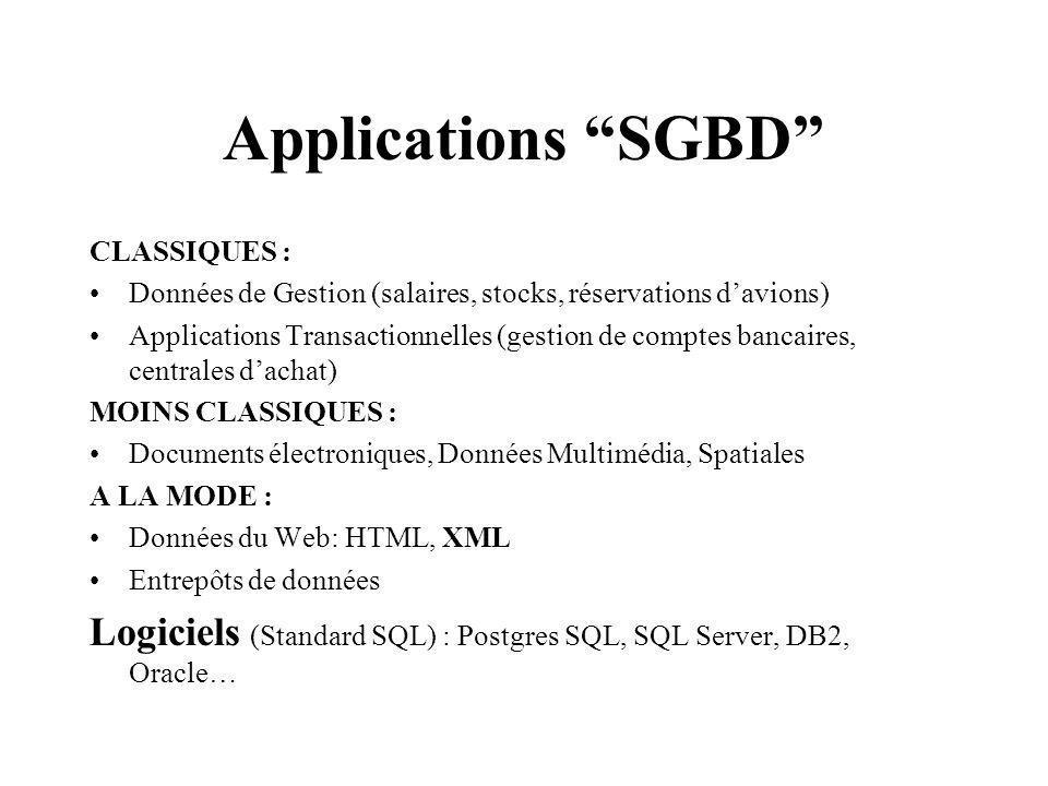 Applications SGBD CLASSIQUES : Données de Gestion (salaires, stocks, réservations davions) Applications Transactionnelles (gestion de comptes bancaires, centrales dachat) MOINS CLASSIQUES : Documents électroniques, Données Multimédia, Spatiales A LA MODE : Données du Web: HTML, XML Entrepôts de données Logiciels (Standard SQL) : Postgres SQL, SQL Server, DB2, Oracle…