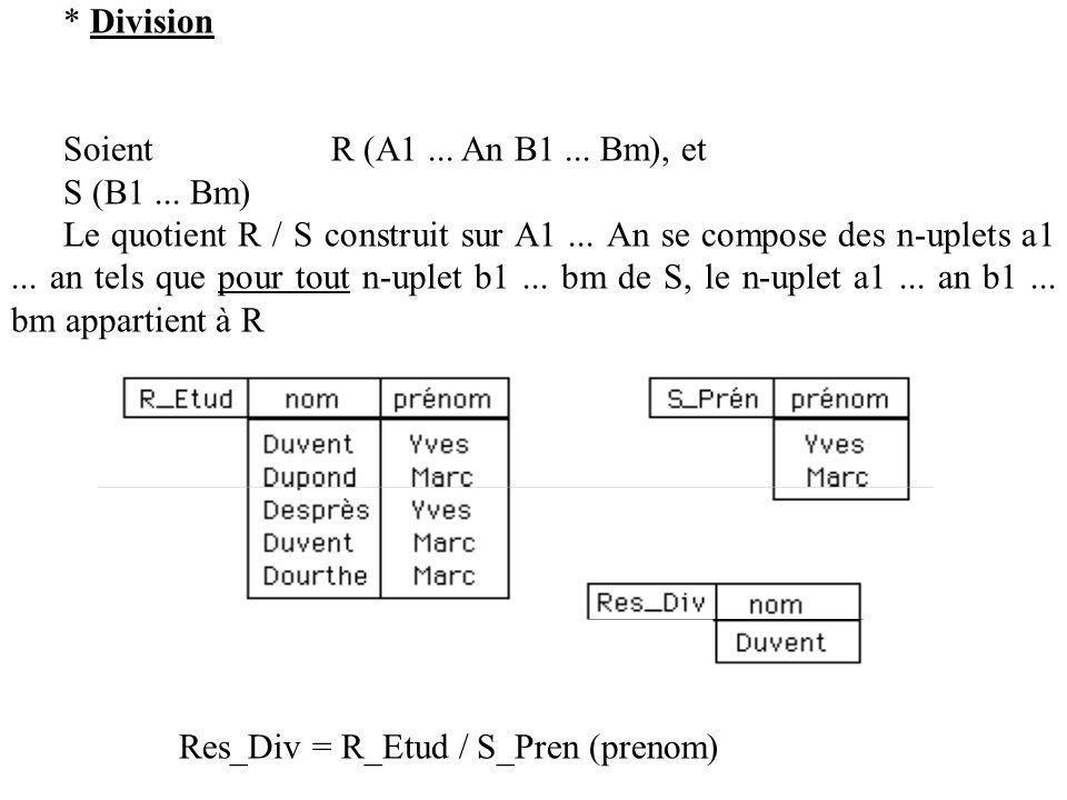 * Division Soient R (A1...An B1... Bm), et S (B1...